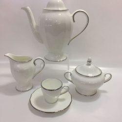 DUCHESSA BORDO PLATINO CAFFE' 15 PZ. BONE CHINA RICHARD GINORI 01974