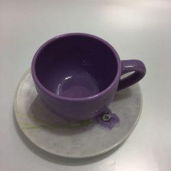 TAZZE CAFFE' CERAMICA ANEMONI LILLA PAGNOSSIN